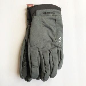 NWT Free Country Mens Soft Shell Gloves Grey